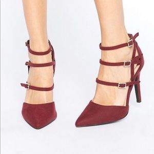 Shoes - Burgundy suede strappy heels